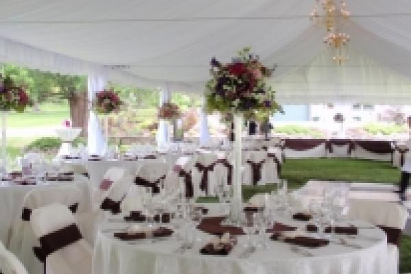 Tables under tent
