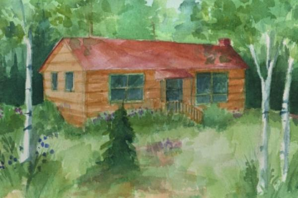 water painting of cabin at The Quite Place
