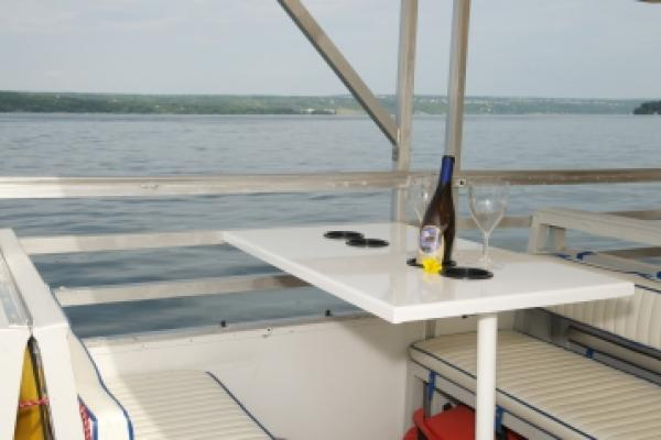 wine bottle in table on boat