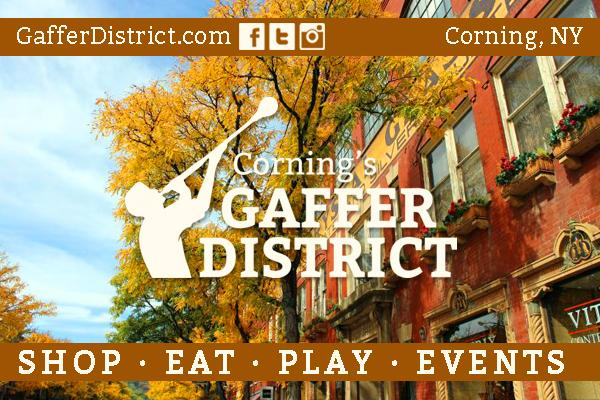 fall foliage with gaffer district glassblower logo and white text