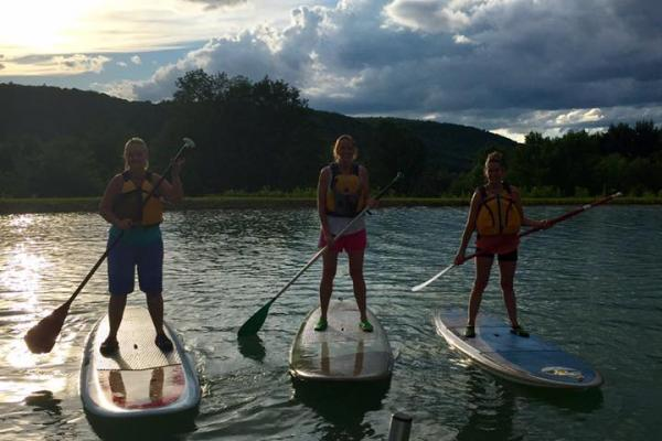 Their first time ever stand up paddleboarding!