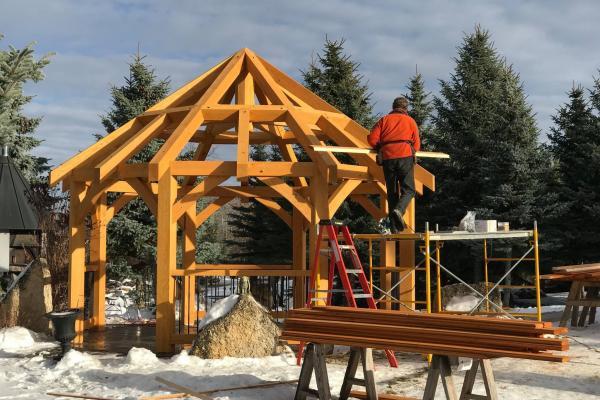 Timber frame pavilion under construction