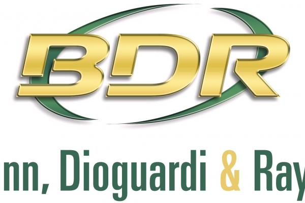 b d r in gold text with green circle behind it, bonn dioguardi & ray llc text below in green with gold ampersand
