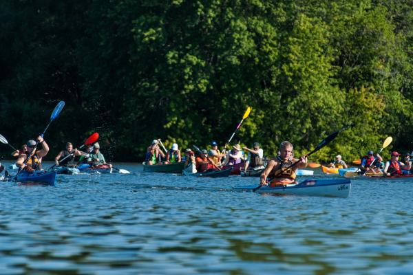2016 Paddle Keuka 5K with paddlers on Keuka Lake.