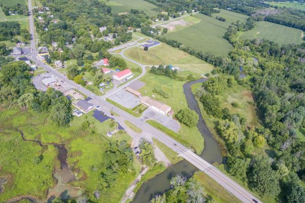 Aerial view of Finger Lakes Museum and Aquarium site.