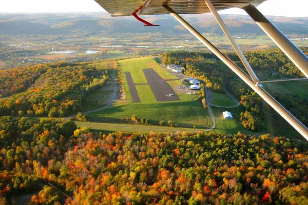 Autumn flight over Harris Hill