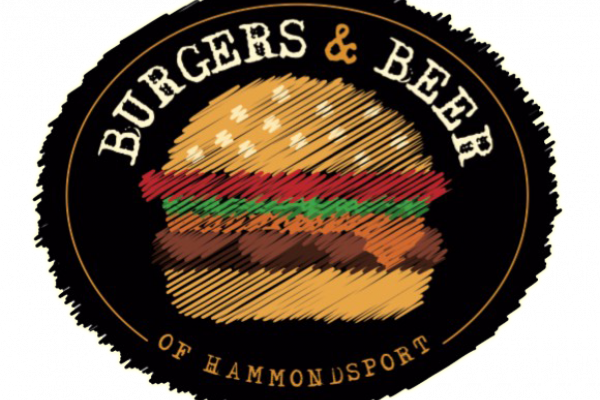 sketch image of burger with white burgers & beer text above it, all on a black background
