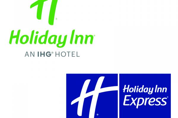 holiday inn logo at top left of image and holiday inn express logo at bottom right of image