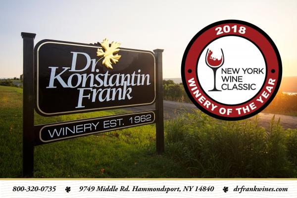 dr konstantin frank black sign with gold leaf and red circle with new york wine classic 2018 winner emblem to right