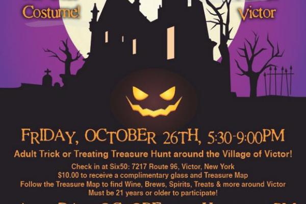 Adult Trick or Treating Treasure Hunt around Victor