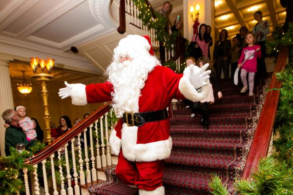 Santa coming down the stairs