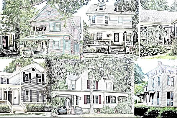 sketch of houses on tour