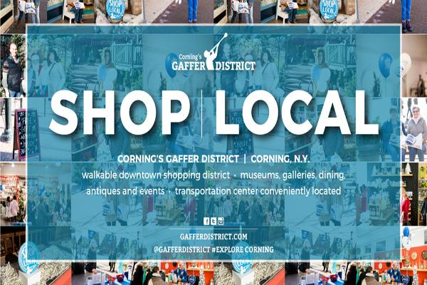 blue box with white overlay text noting Shop Local