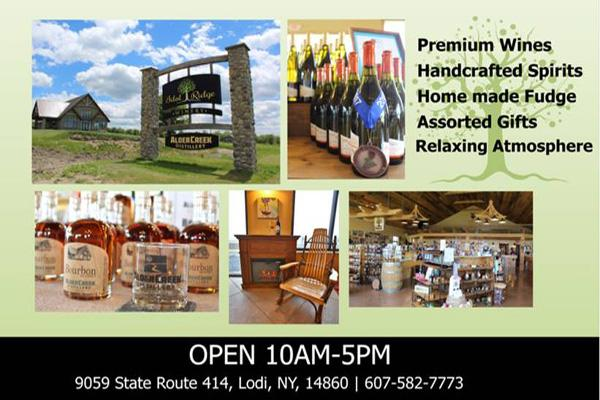 collage of images including road sign, wine bottles, tasting room interior and contact information overlaying a green backdrop