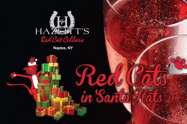 Red Cats in Santa Hats at Hazlitt's Red Cat Cellars Saturday, December 8, 2018