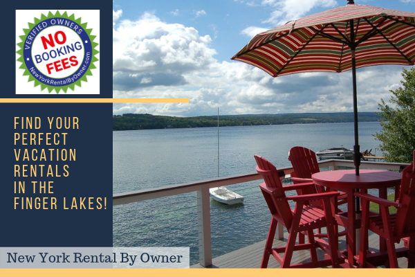 "deck overlooking lake with red chairs and umbrella with yellow text ""Find your perfect vacation rental in the Finger Lakes' with starburst at top left with red text saying 'no booking fees'"