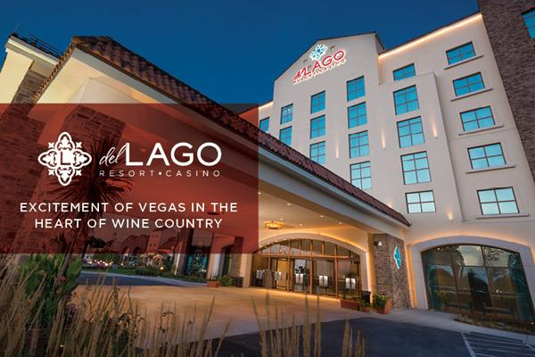 hotel casino front with red block and says del lago resort and casino in white text