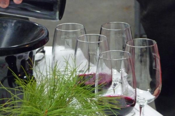 Glasses of red wine at Keuka Spring Vineyards' annual Holiday Barrel Tasting