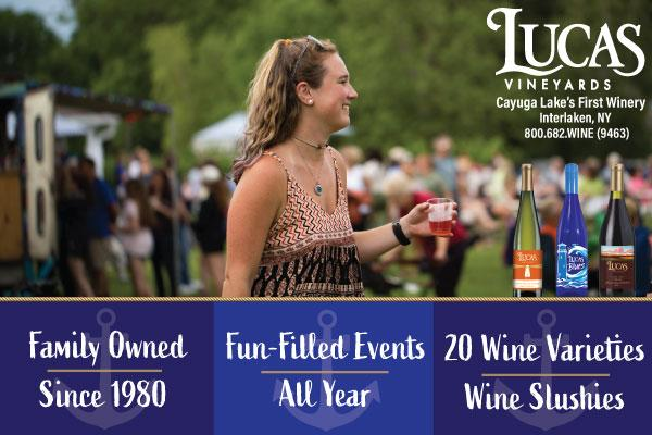 image of girl smiling in crowd with glass of rose in hand, three blue boxes at bottom of image with different event listings in each box across bottom border