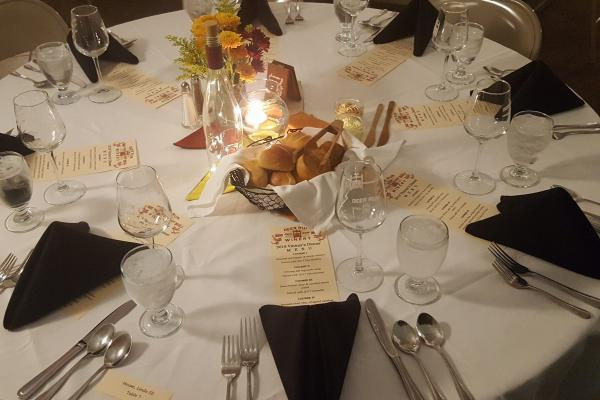 a table setting at Deer Run Winery