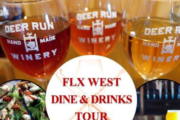 FLX West logo in front of a flight of 3 wines