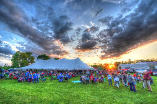 panorama of a concert audience at Deer Run Winery