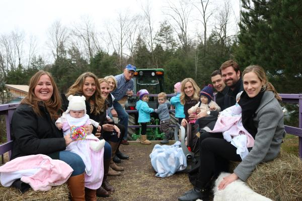 families on a hayride at buttonwood grove