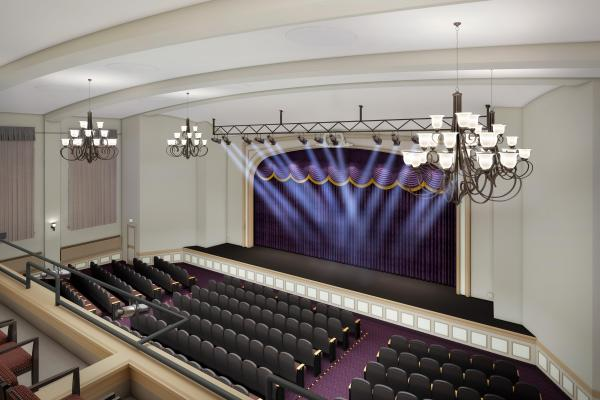 stage rendering with spotlights shining on stage and empty seats