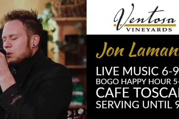 Jon Lamanna singing in microphone with event details
