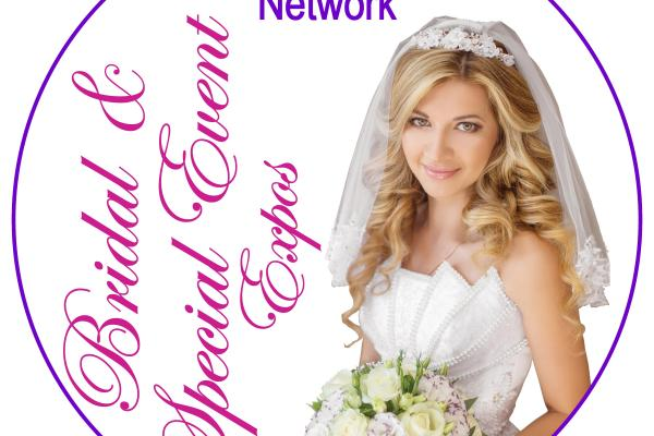 bride with flowers and veil holding bouquet, pink vertical cursive text to left saying bridal event network, purple block text at top of circle 'Special Event Network'