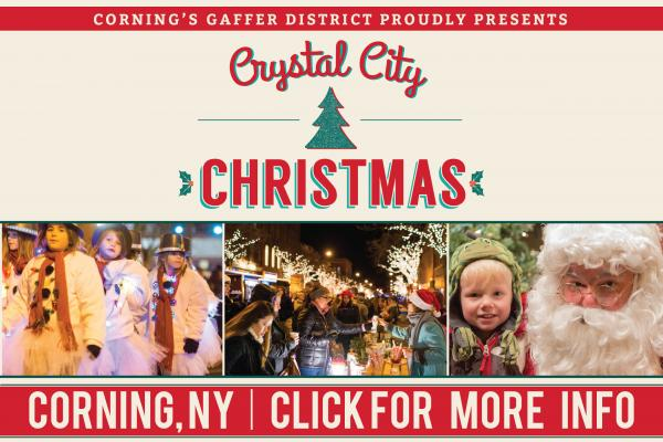 red cursive crystal city christmas text on a cream white background with red bar header and footer, picture of small child with santa, a snowman children's parade and people tasting at vendor booths for festival