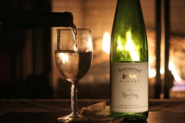 Fireside wine tasting at buttonwood grove