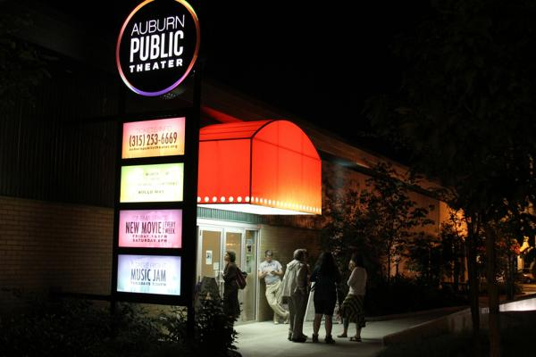 Auburn Public Theater Marquis lit up at night