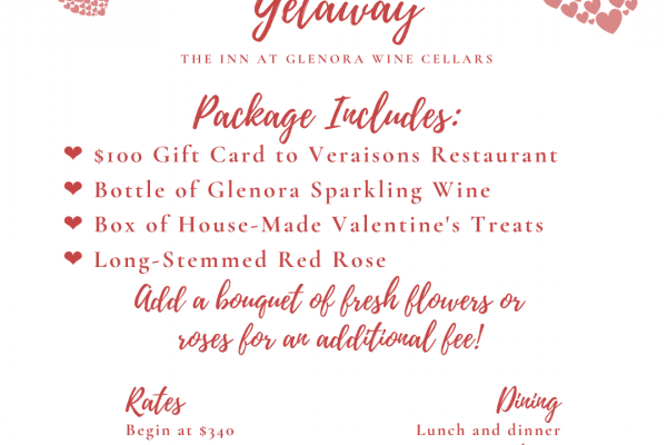 Description of Valentine's Day Getaway Package details, with pink hearts and swirling script.