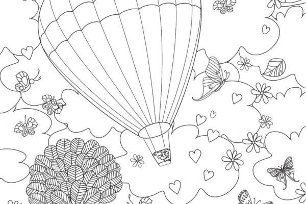 Coloring image of hot air balloon