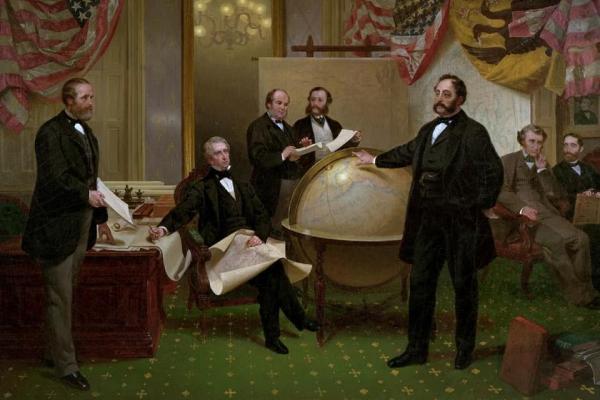 William Seward Painting with globe