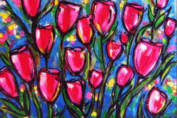 Painted bouquet of pink tulips