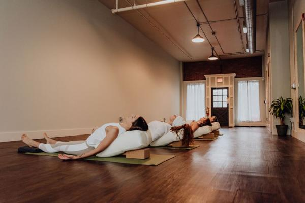 Yoga students in pose