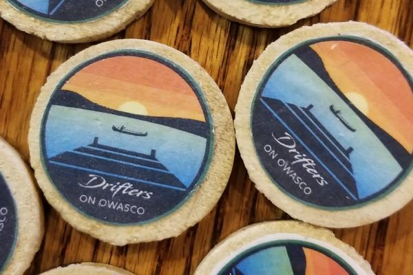 Coasters with Drifters on Owasco logo