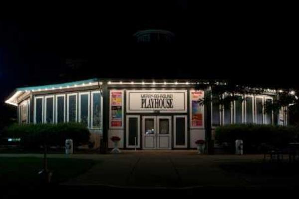 Merry-Go-Round Playhouse lit at night
