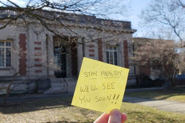 Seymour Library building and stay healthy message