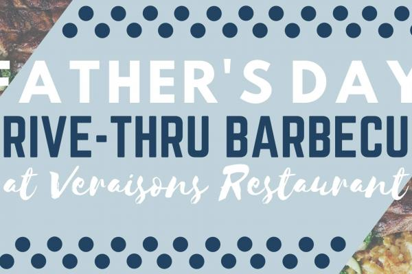 Banner image for Drive-Thru Barbecue at Veraisons, with blue and white text, featuring small images of chicken barbecue and sides.