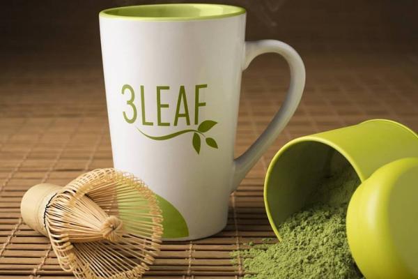3 Leaf Tea matcha tea and mug