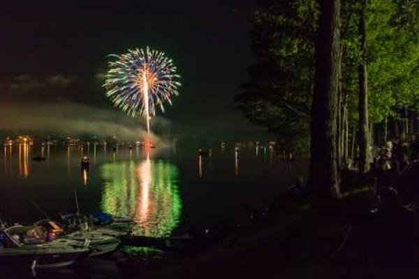 Fireworks over Little Sodus Bay