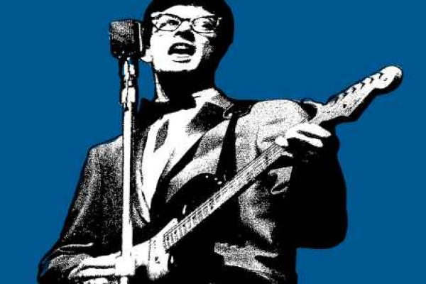 Graphic image of singer, Buddy Holly, playing guitar and singing