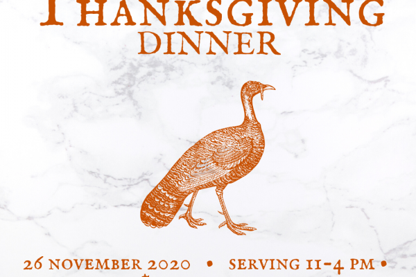 Thanksgiving Dinner at Veraisons Restaurant tile image, with an orange turkey and a marble background.