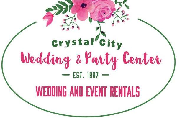 pink flowers at top with green circle around green and pink Crystal City Wedding & Party Center and Wedding tent rentals text
