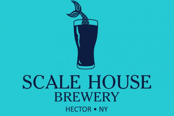 turquoise background with navy blue text 'Scale House Brewery' with pint glass filled and fish tail coming out of top of pint glass