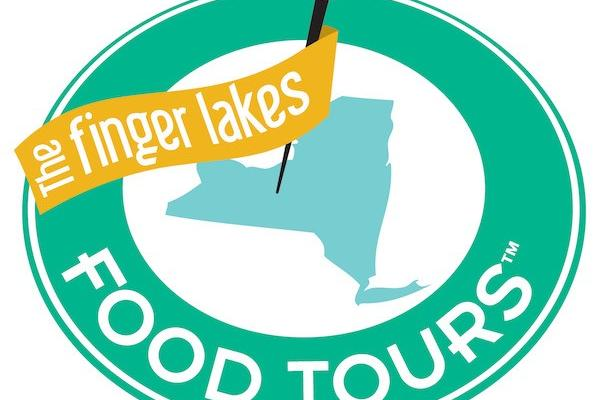 finger lakes food tours green circle logo around map of New York with red pin in the center