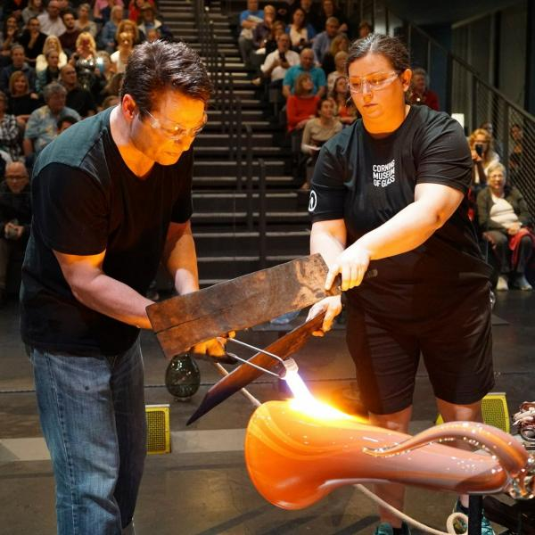 Visiting Glass Artists create their work in the Amphitheater